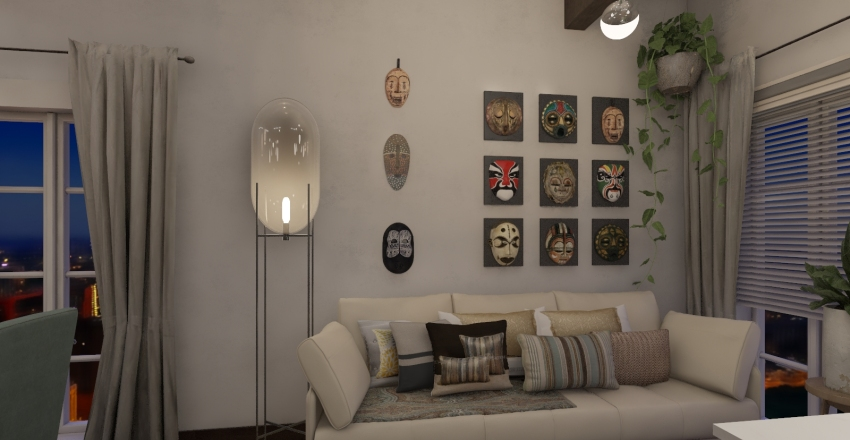 Sala de Estar e Jantar Boho Chic Interior Design Render