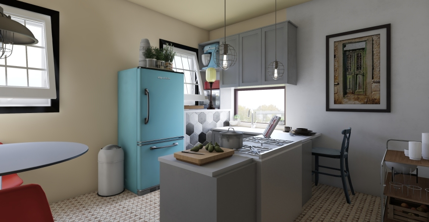 She is a crazy eclectic girl Interior Design Render