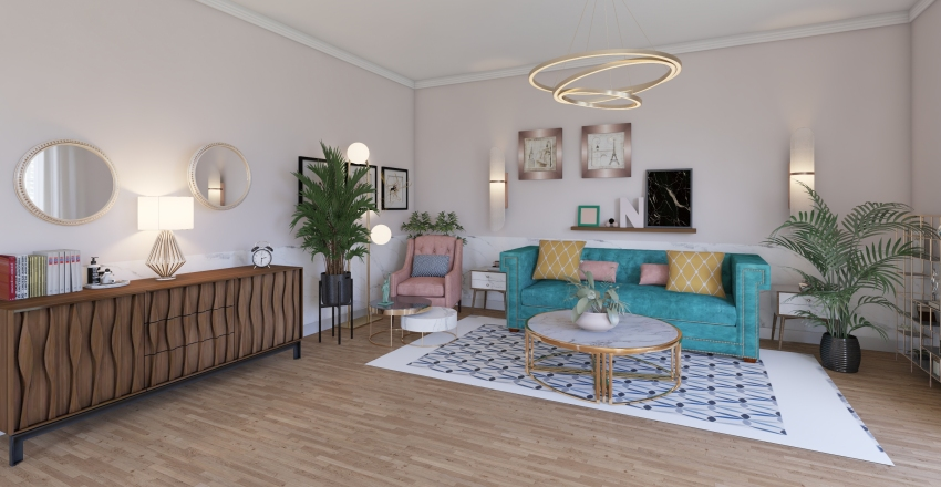 Pink and Green Interior Design Render