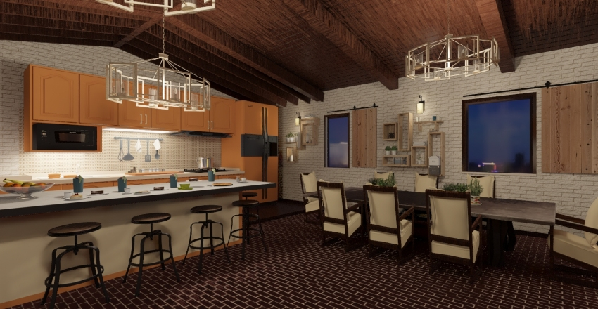 casale open space Interior Design Render
