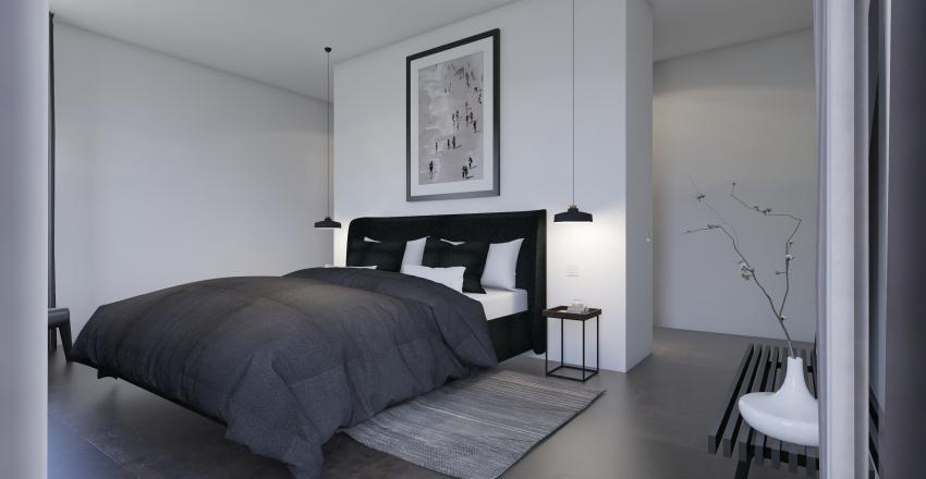B&W Bedroom Interior Design Render