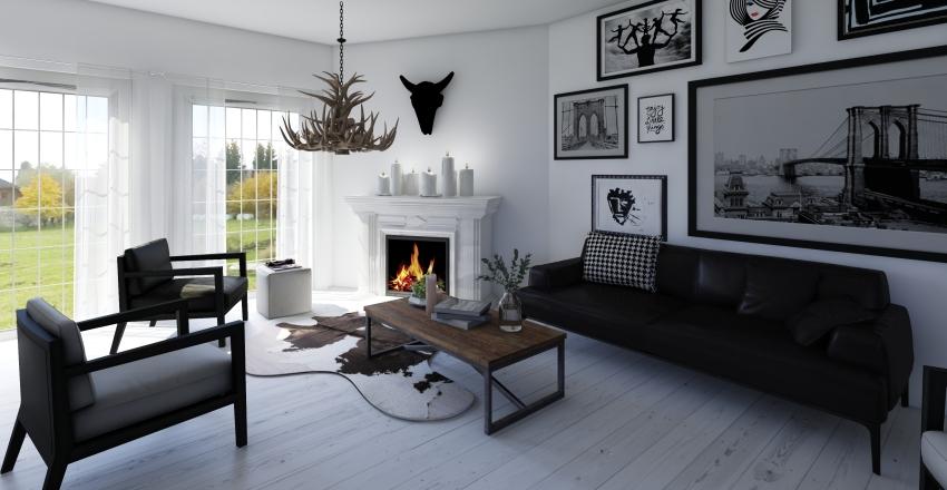 Black and White Family Home Interior Design Render