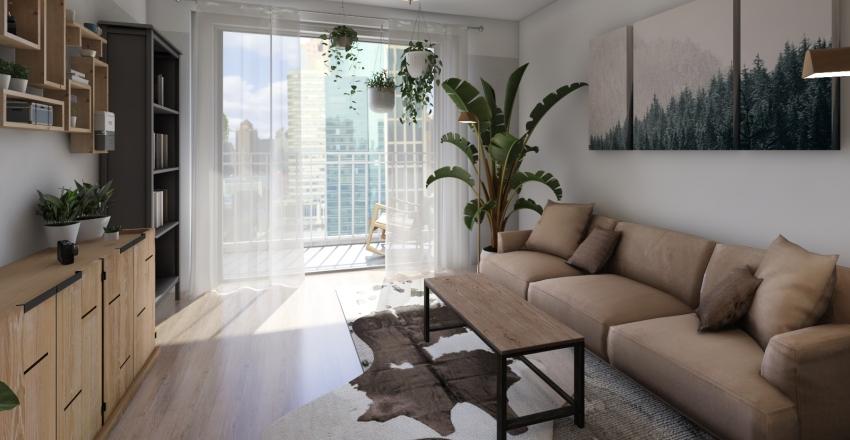 Green Urban Flat Interior Design Render
