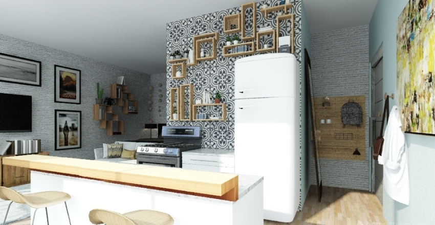400 square foot studio  Interior Design Render
