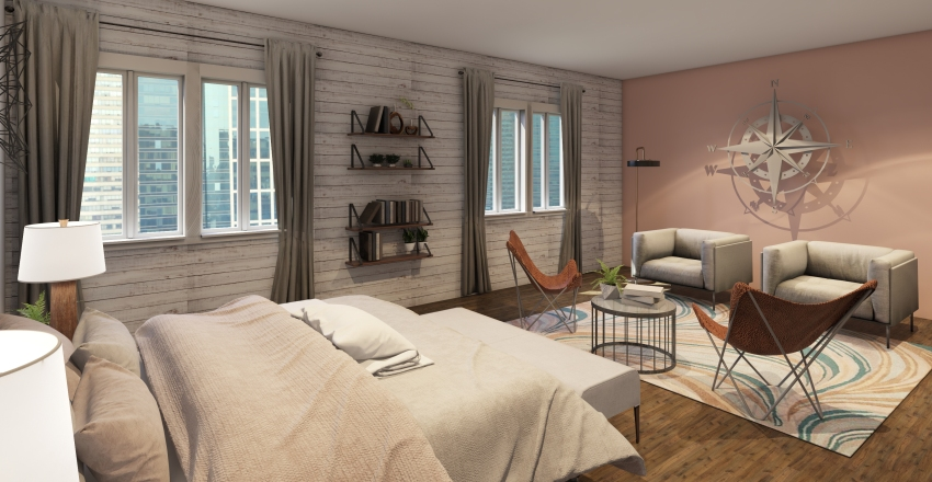 Country/modern teen bedroom Interior Design Render