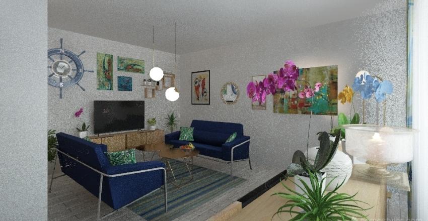 living room blue-green Interior Design Render