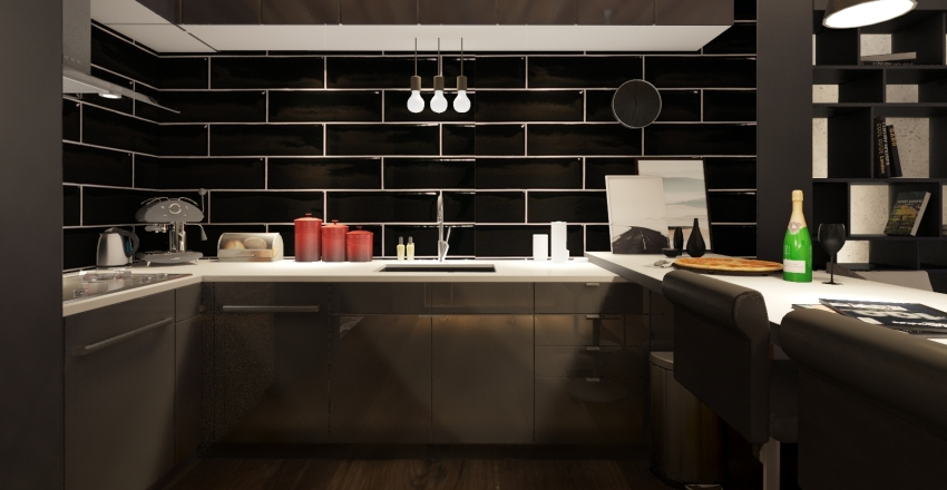 Monoambiente Interior Design Render