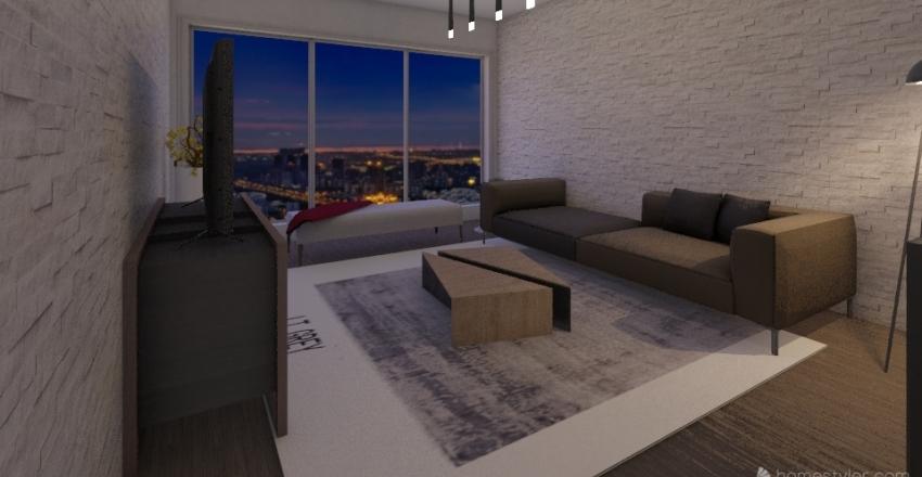 Salón estilo industrial Interior Design Render