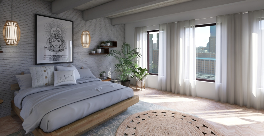 Boho Bedroom Interior Design Render
