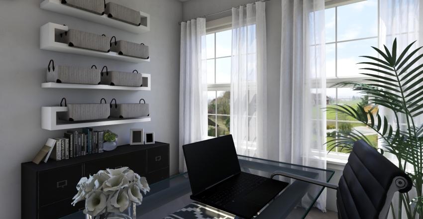 Office: Black and White Minimal Interior Design Render