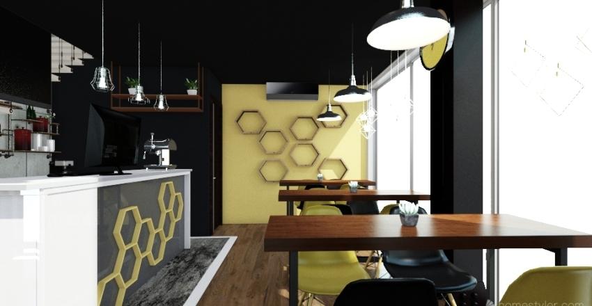 COFFEE SHOP INDUSTRIAL Interior Design Render