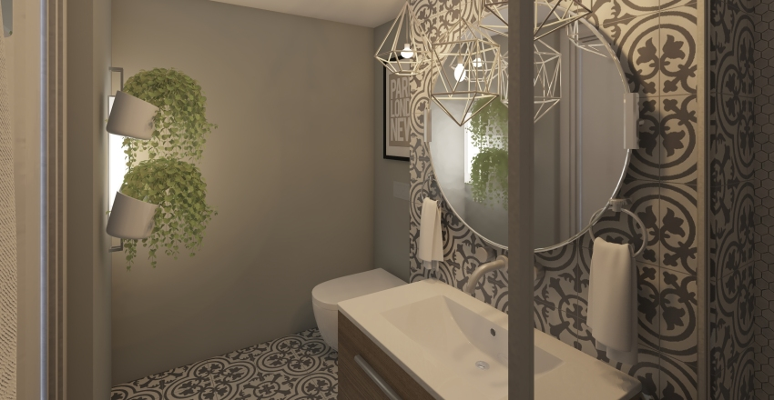 Tiny Cozy Bath Interior Design Render