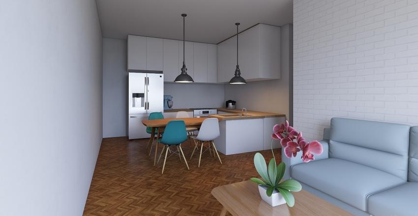 sala e cozinha integrada Interior Design Render