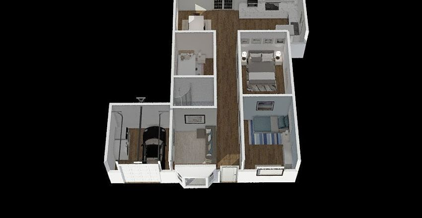 1st assignmnet: Design home for family of 4; less than or equal to 100 sq ft Interior Design Render