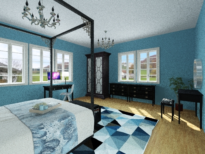 farm house style bad room  Interior Design Render