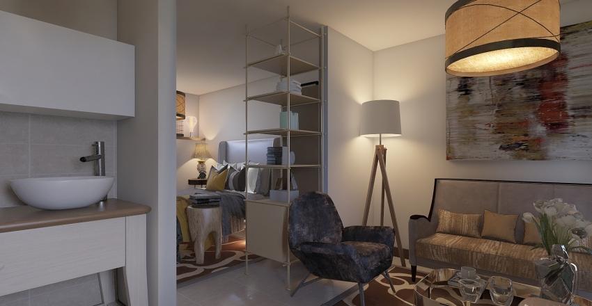 Monolocale ristrutturato: 35 mq più luminosi al piano terra Interior Design Render