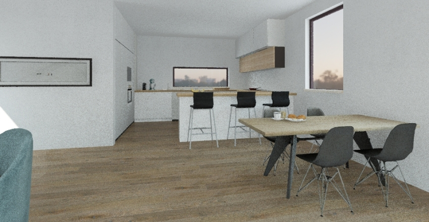 kuchyň, obývák Interior Design Render