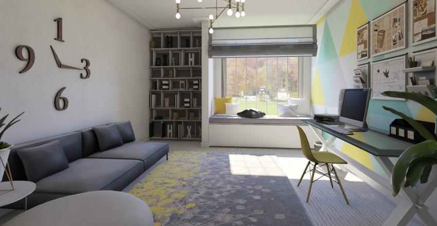 colorful office Interior Design Render