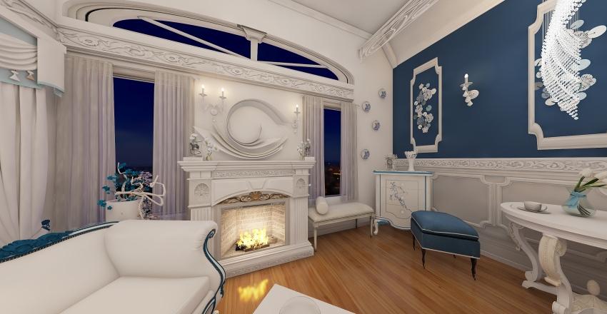 blue and white  Interior Design Render