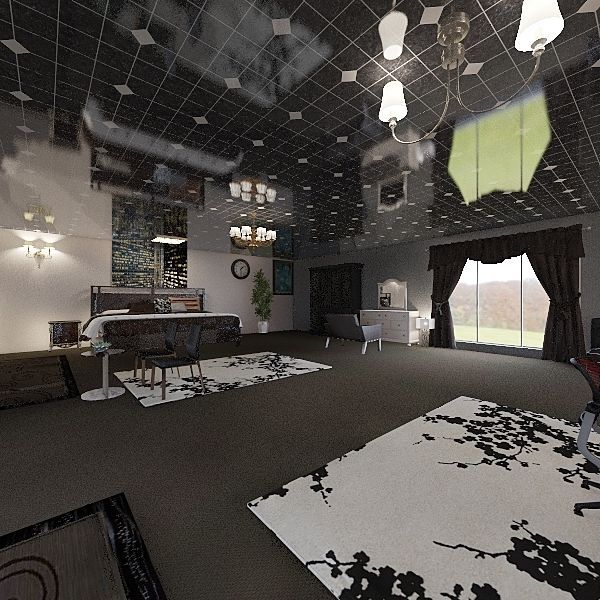 the black Interior Design Render