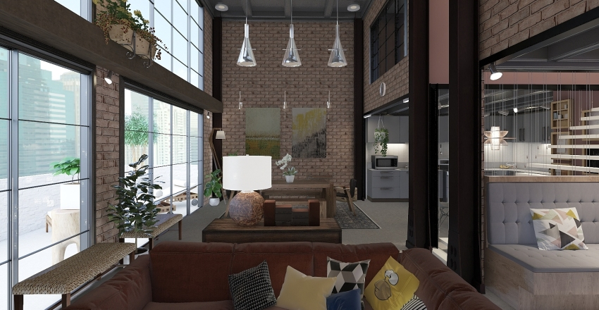 Warehouse converted loft Interior Design Render