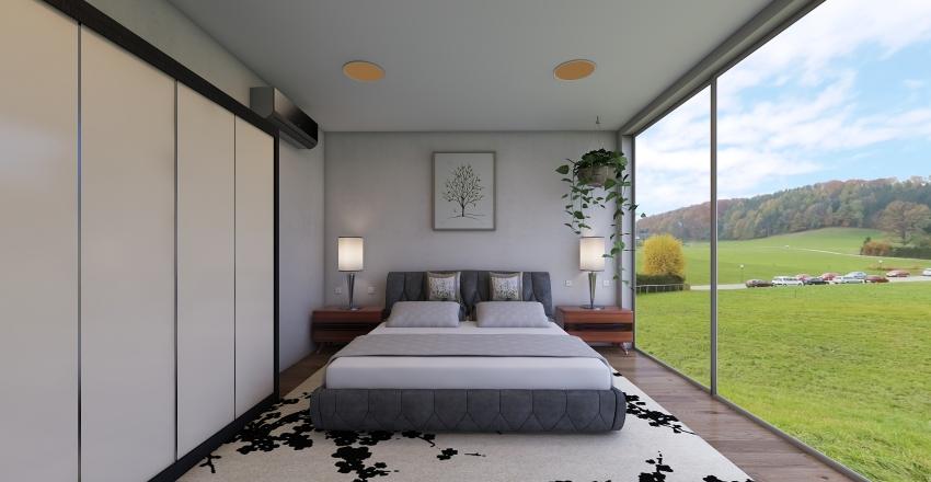 Dormitorio Mid-Century Interior Design Render