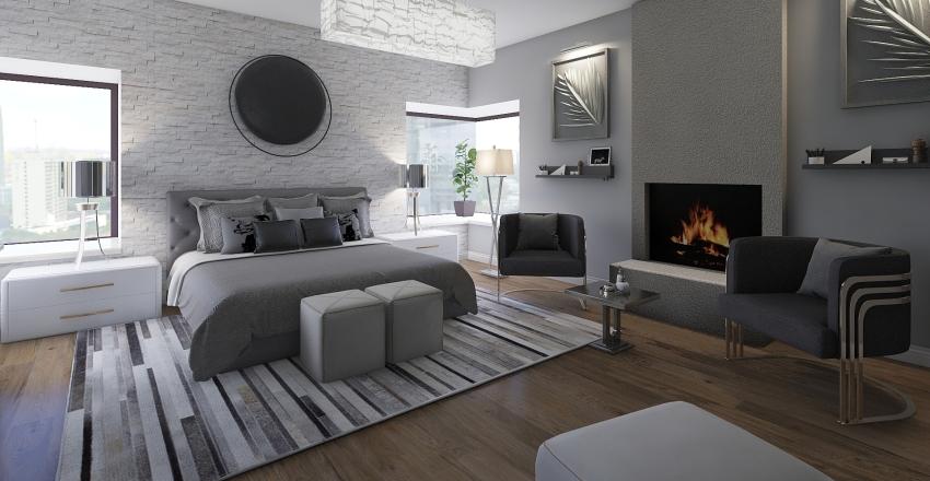 Apartamento en la costa- Dormitorio Interior Design Render