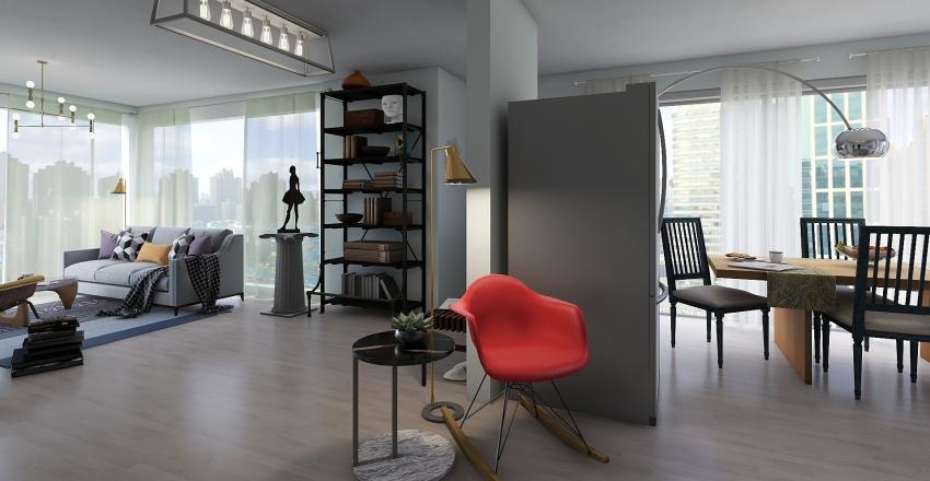 clean and marine style loft Interior Design Render
