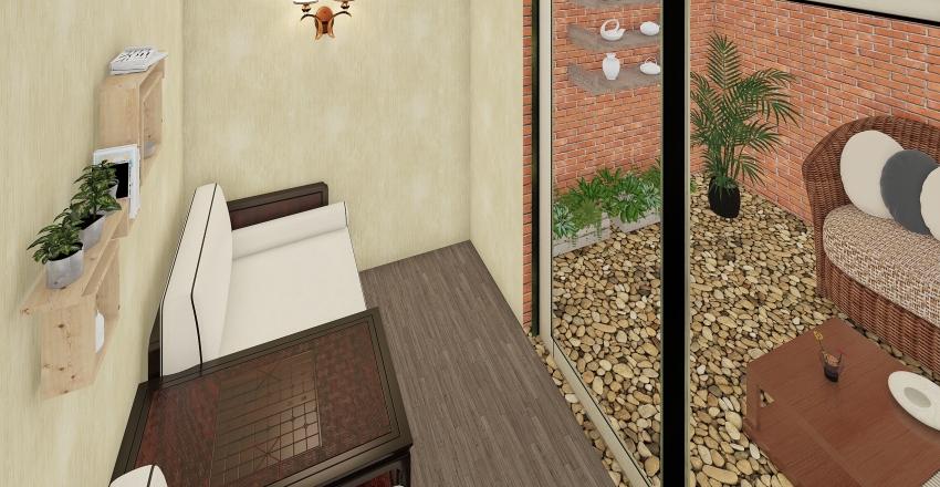 Quarto moradin com jardim Interior Design Render