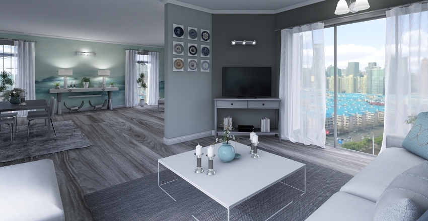 Shy blue Interior Design Render