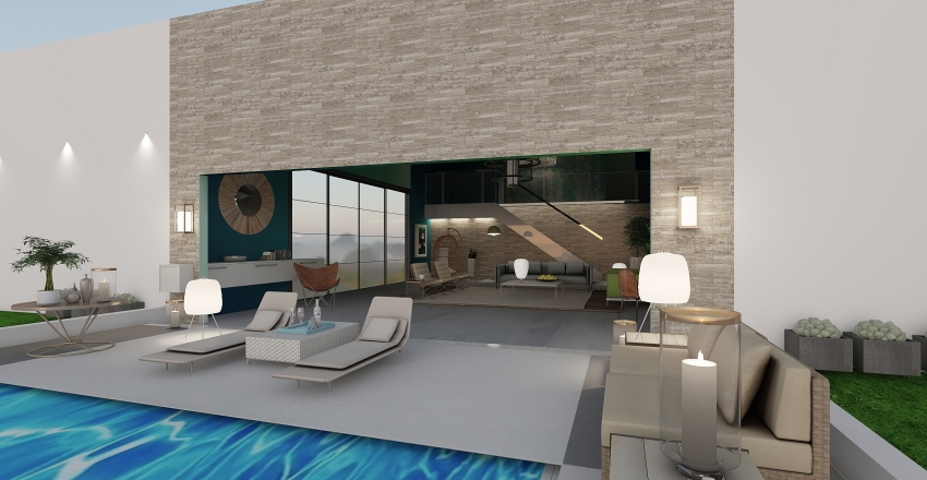 2020 neo mint pool room Interior Design Render