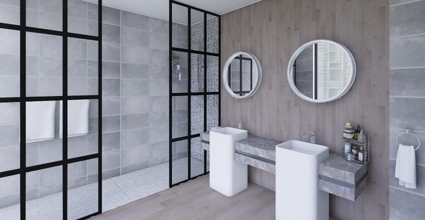 Wood and Gray Interior Design Render