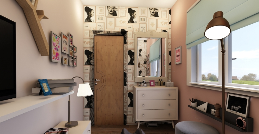 Tiny teen bedroom Interior Design Render