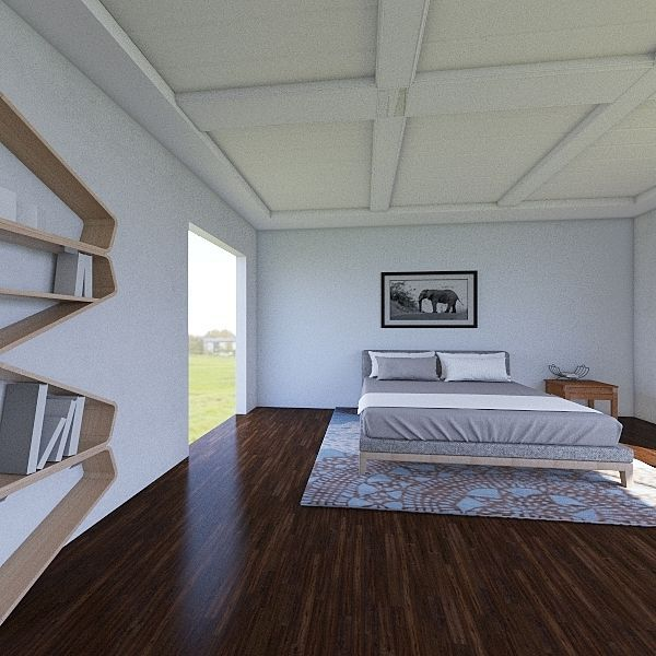 level 2 overhang kid bedroom Interior Design Render