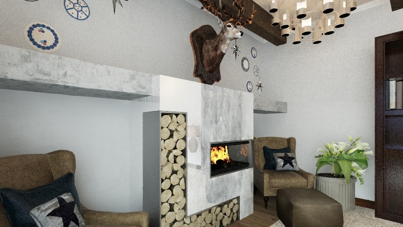 Customer B: Rustic Redo Winter Cabin Interior Design Render