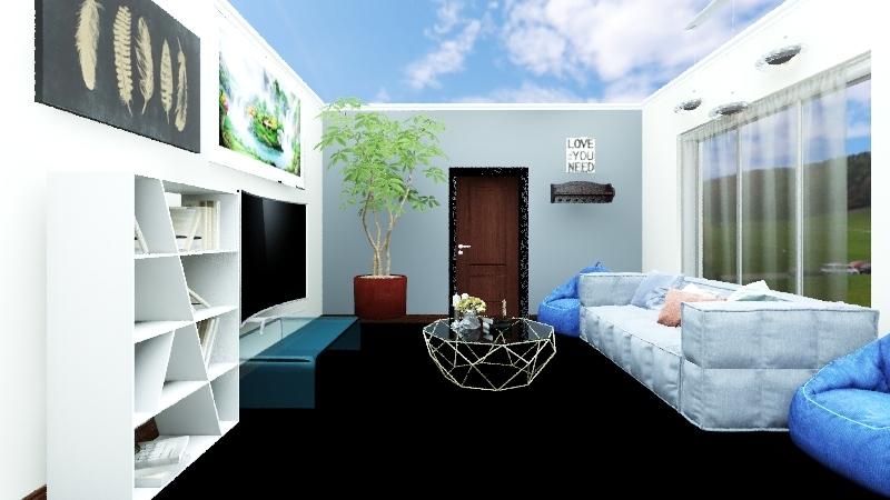 Customer A Mid Century Modern Living Room Interior Design Render
