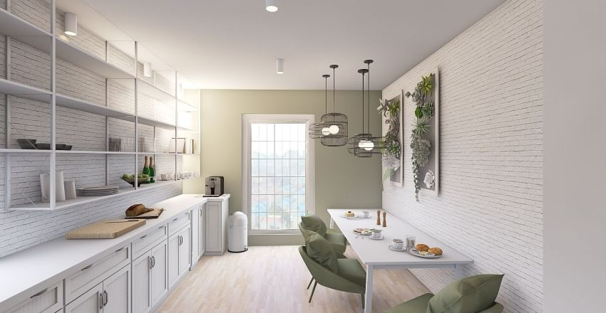 Green and White Kitchen Interior Design Render