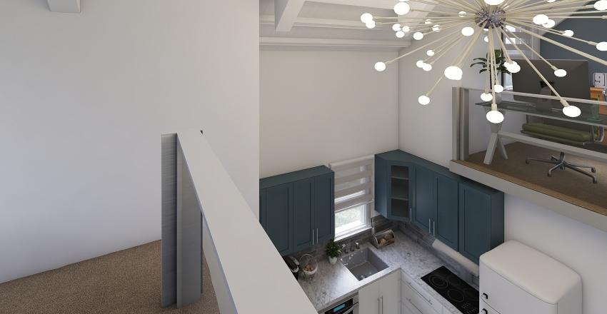 White Tiny Home Interior Design Render