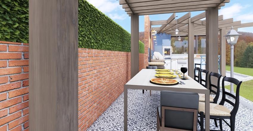 Pergola Gourmet Pool Area Interior Design Render