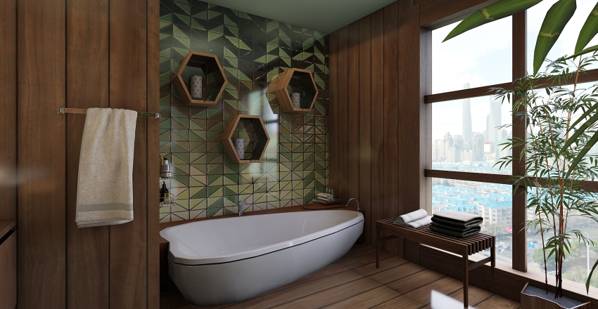 Baño tropical Interior Design Render
