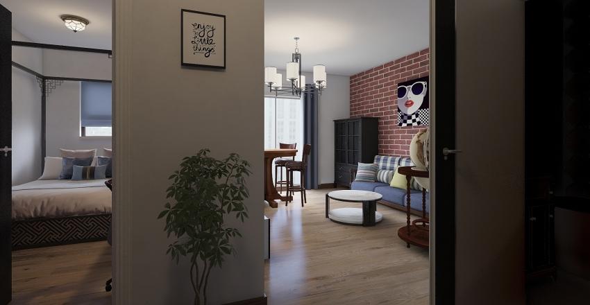 Small Urban Flat (Batchelor's Pad) Interior Design Render