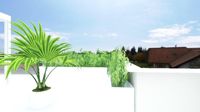 attico busa 2 pergola 4.2 x 6.2 con palme Interior Design Render