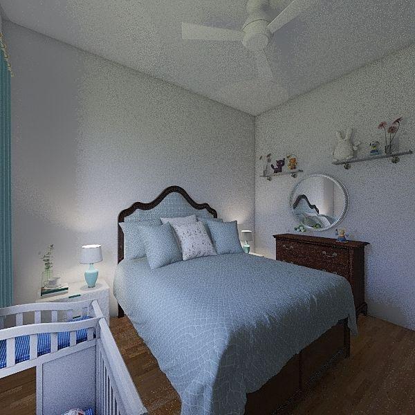scandi style master bedroom Interior Design Render