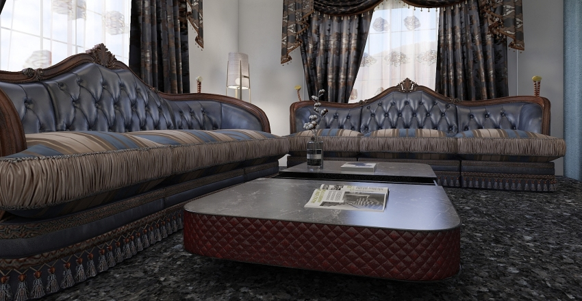 ازرق  Interior Design Render