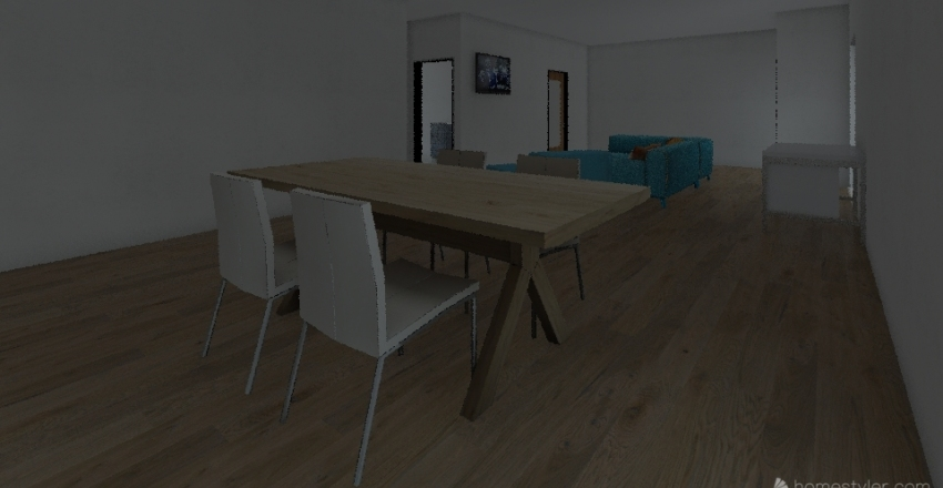 One Room Apartment  Interior Design Render