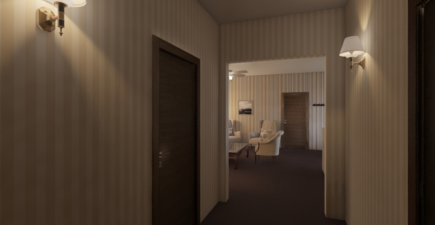 Late 70s-Early 80s Style Apartment Interior Design Render