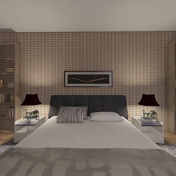 Woody Sassy Master Bed Room Interior Design Render