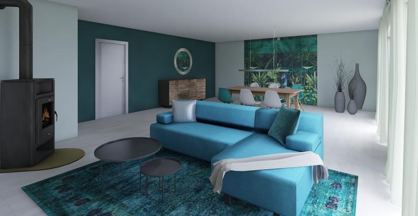Teal Livingroom Interior Design Render