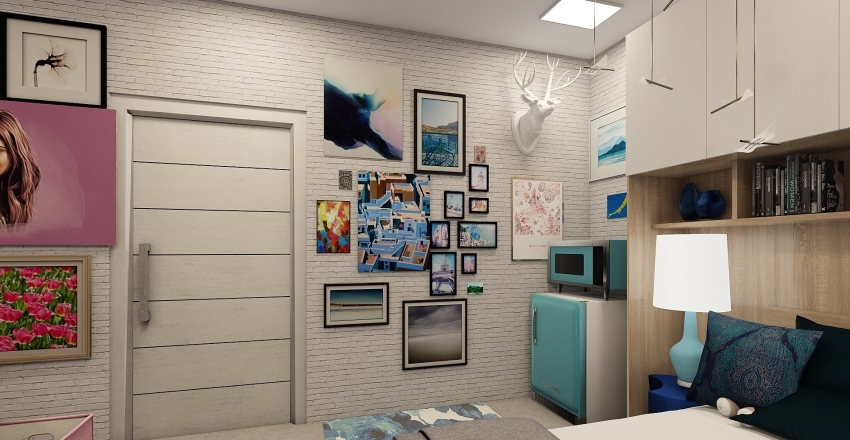 Dorm Room Duo  Interior Design Render