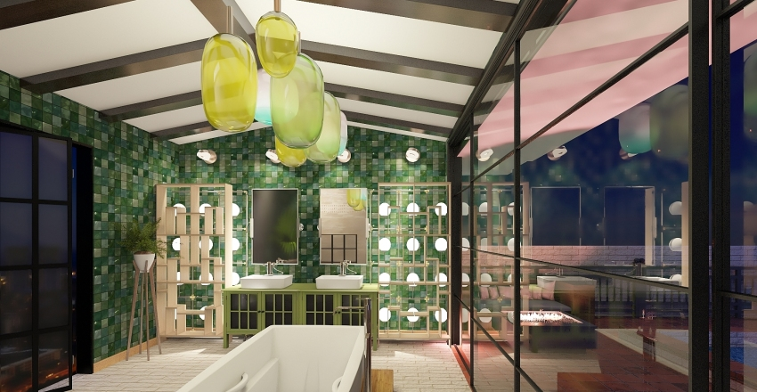 Shades of Green Interior Design Render